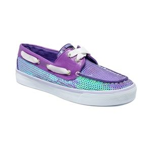 purple iridescent sperry top sider boat shoes